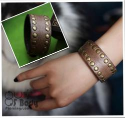 Distressed Leather & Stud Wristband